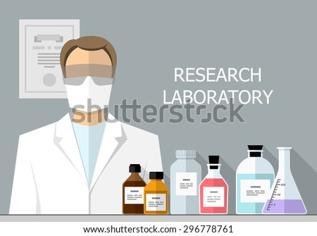 Vector set - Vector set - Chemical Research Laboratory. Flat design. Flat design The test tube, beaker, flask - stock vector