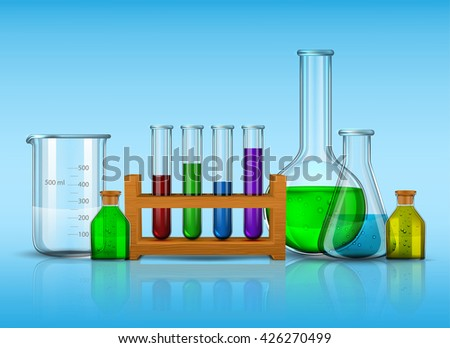 Vector set - Vector set - Chemical Research Laboratory. The test tube, beaker, flask - stock vector