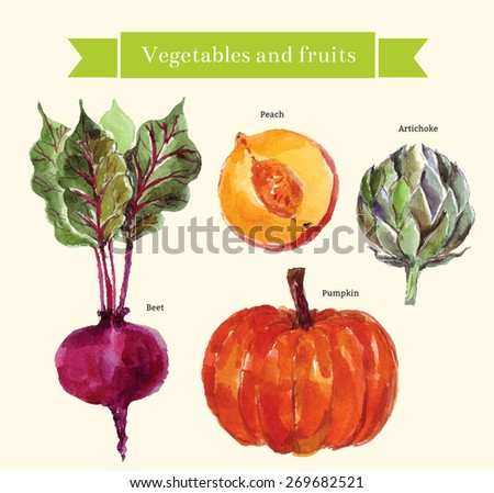 Vector set: vegetables and fruit - stock vector