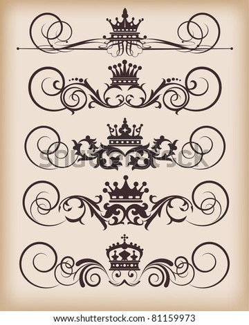 Vector set. Victorian Scrolls and crown. Decorative elements. Vintage