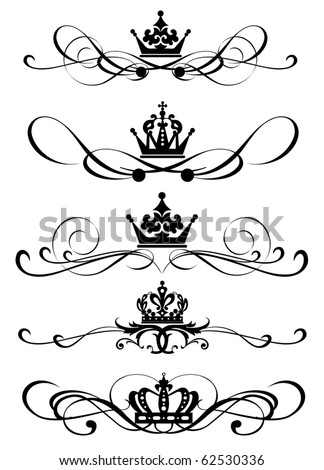 Vector set. Victorian Scrolls and crown for your design. Decorative Dividers. Calligraphy - stock vector