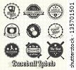 Vector Set: Vintage Baseball Champion Labels and Icons - stock vector