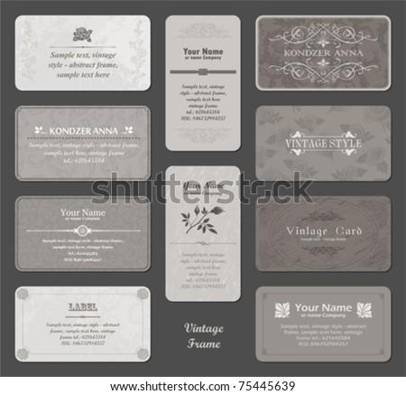 vector set: vintage card - inspired by antique originals - stock vector
