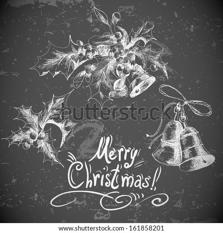 Vector set: vintage Christmas design elements for retro design with Holly and bell   Old paper texture - stock vector