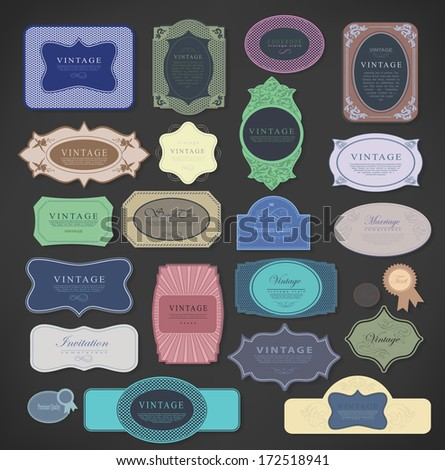 Vector set vintage color labels, vector illustration, Premium Quality, Guarantee