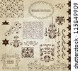 "Vector set: vintage design elements on crumpled paper texture, also  includes 4 seamless brushes and 4 patterns in swatch menu, eps10 transparency effects, standart AI font ""eccentric std"" - stock vector"