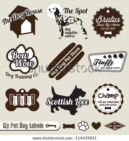 Vector Set: Vintage Dog and Pet Store Labels - stock vector