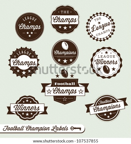 Vector Set: Vintage Football Champs Labels with Banners - stock vector