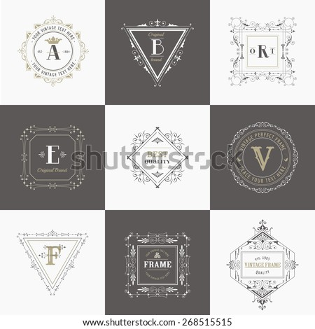 Vector Set: Vintage Frames and Banners, Calligraphic Design Elements and Monograms - stock vector