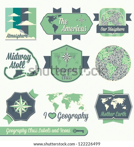 Vector Set: Vintage Geography Class Labels and Icons - stock vector
