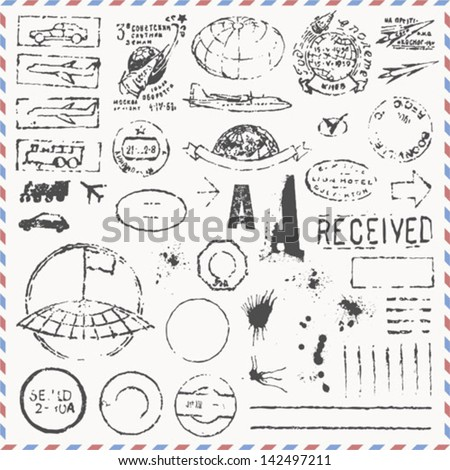 Vector set - vintage hand drawn postage stamps - stock vector