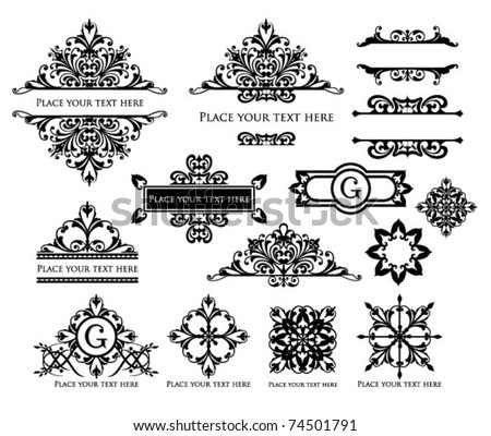 vector set vintage labels 4 - stock vector