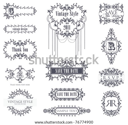 vector set vintage labels 5 - stock vector