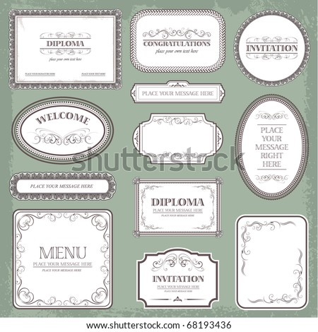 Vector set: vintage labels elements and page decoration - stock vector