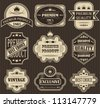 Vector set. Vintage labels. Striped background - stock vector