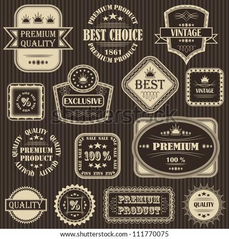 Vector set. Vintage labels. Striped background - stock vector