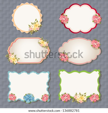 vector set: vintage labels with flowers - stock vector