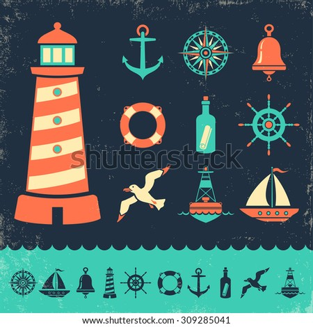 Vector set vintage marine icons on old background - stock vector