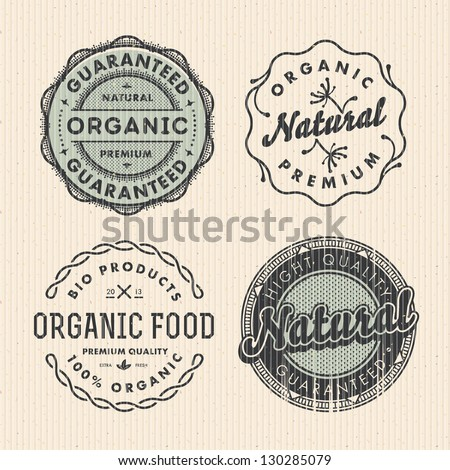 Vector set vintage organic labels - stock vector