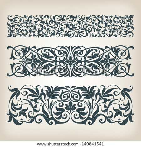 vector set vintage ornate border frame filigree with retro ornament pattern in antique baroque style arabic decorative calligraphy design - stock vector