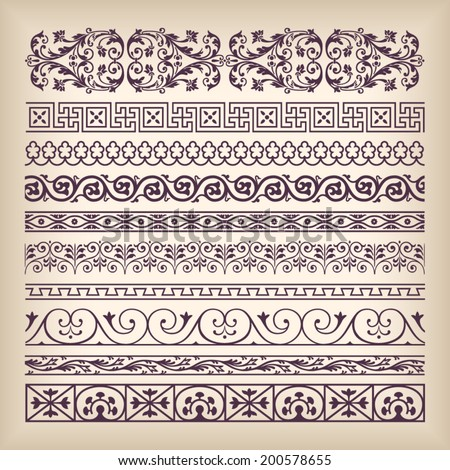 Vector set vintage ornate border frame with retro ornament pattern in antique baroque style. Arabic decorative calligraphy design high quality - stock vector