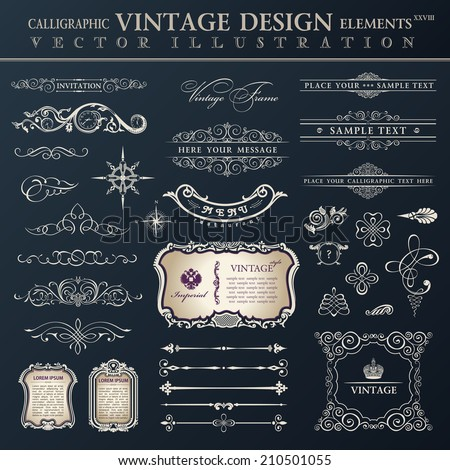 Vector set vintage ornate. Calligraphic design elements and page decoration, collection with royal ornaments - stock vector