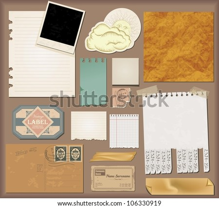 Vector set : vintage paper - stock vector