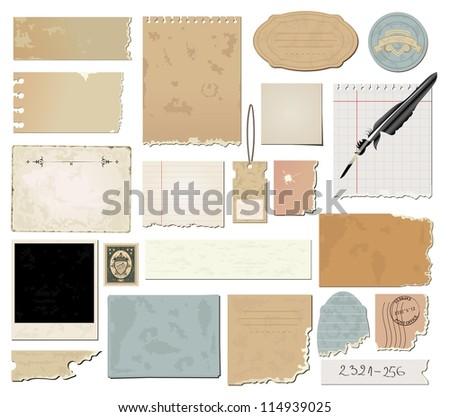 Vector set : vintage paper - stock vector