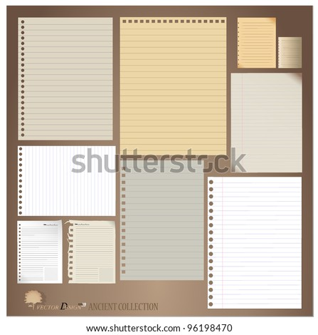 Vector set: Vintage paper designs (paper sheets, lined paper and note paper)