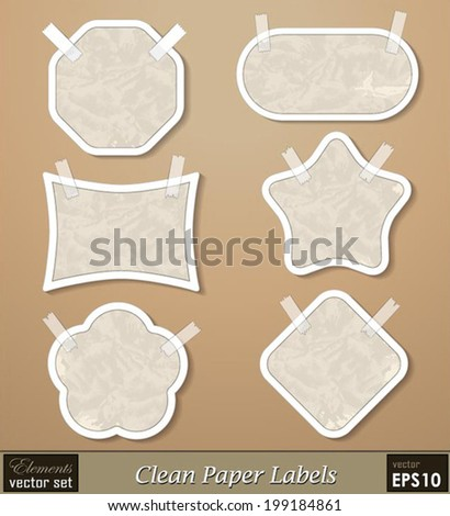 vector set vintage paper textured labels stock vector 199184843, Powerpoint templates
