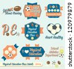 Vector Set: Vintage Physical Education Class Labels and Icons - stock vector