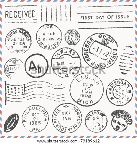 vector set: vintage postage stamps - stock vector