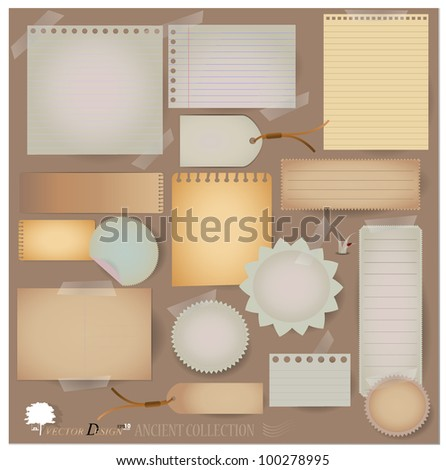 Vector set: Vintage postcard, and blank paper designs. (variety of scraps for your layouts or scrapbooking projects) - stock vector