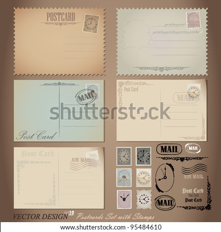 Vector set: Vintage postcard designs and postage stamps. - stock vector
