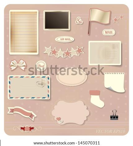 Vector set: Vintage postcard designs, blank grunge paper, postcard and envelope. - stock vector