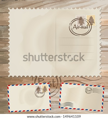 Vector set: Vintage postcard designs, envelope and postage stamps. - stock vector