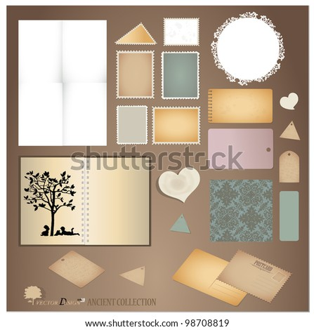 Vector set: Vintage postcard, envelope, stamp, card and blank paper designs. - stock vector