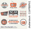Vector Set: Vintage Radio and Recording Labels - stock vector