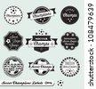 Vector Set: Vintage Soccer Champions Labels - stock vector