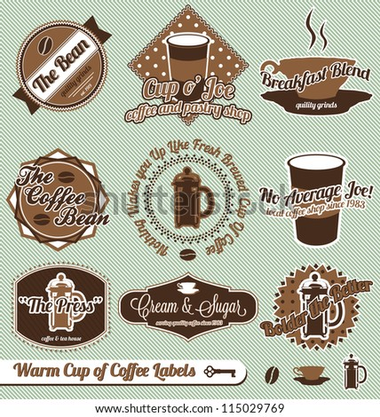 Vector Set: Vintage Style Cup of Coffee House Labels and Stickers - stock vector
