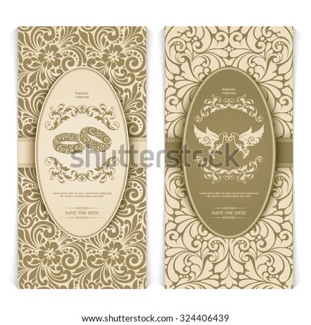 Vector set vintage template with seamless pattern, decor frame and ornate design element: couple birds with rings, couple of rings. Elegant lace wedding invitation design, Greeting Card, banner - stock vector