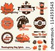 Vector Set: Vintage Thanksgiving Day Labels and Stickers - stock vector