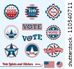Vector Set: Vintage  Vote Labels and Buttons for Election of President - stock photo