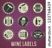 Vector Set: Vintage Wine Labels and Icons - stock photo