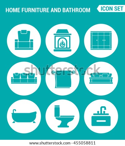 Vector set web icons. Home furniture and bathroom, armchair, fireplace, wardrobe, sofa, towel, bath, toilet, washbasin. Design of signs, symbols on a turquoise background - stock vector