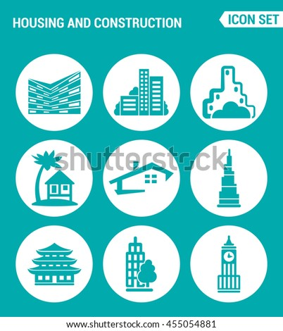 Vector set web icons. Housing and construction city, house, architecture, business, apartment, home, office. Design of signs, symbols on a turquoise background - stock vector