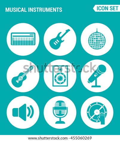 Vector set web icons. Musical instruments piano, guitar, disco, ball, speaker, microphone, sound, DJ. Design of signs, symbols on a turquoise background - stock vector