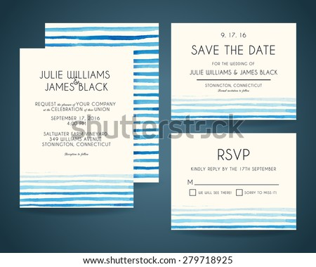 Vector set Wedding invitation cards with watercolor background. Template Wedding invitations or announcements - stock vector