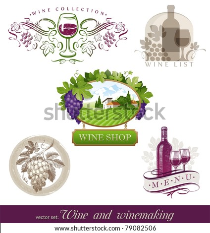Vector set - wine & winemaking emblems & labels in different styles - stock vector