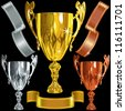 vector set Winning success gold, silver, bronze cups and gold ribbons on the black background - stock vector